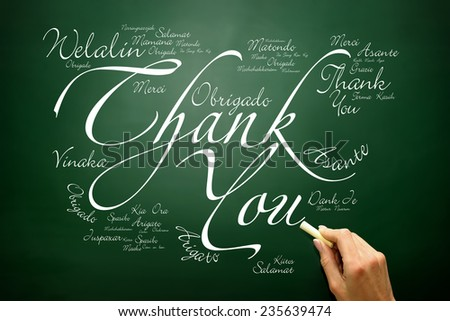 Hand drawn Thank You lettering Greeting Card in many languages, concept on blackboard - stock photo