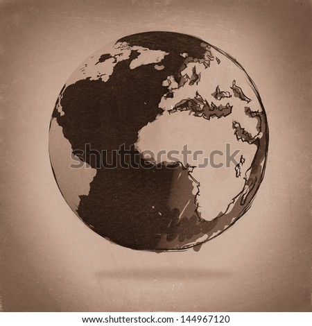 hand drawn the earth as vintage - stock photo