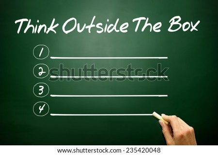 Hand drawn Think Outside The Box blank list, business concept on blackboard - stock photo