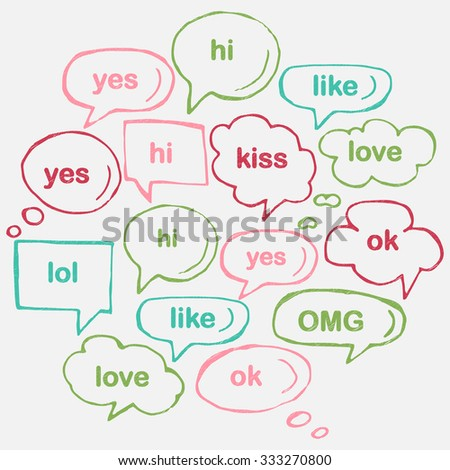 Hand drawn thought and speech bubbles and balloons. Blank empty white speech bubbles. Speech bubble icons. Think cloud symbols. Sketch hand drawn bubble speech.  - stock photo