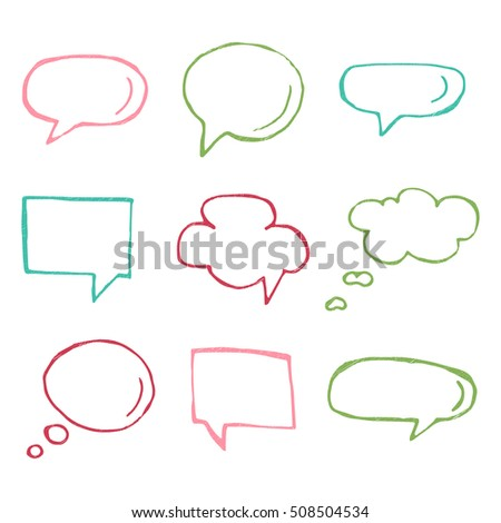 Hand drawn thought and speech bubbles and balloons. Blank empty white speech bubbles. Think cloud symbols. Sketch hand drawn bubble speech.