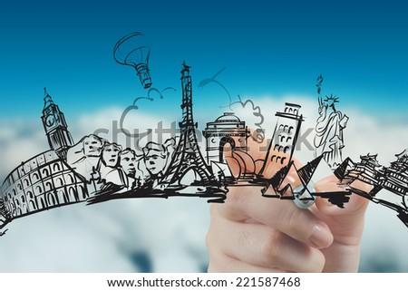 hand drawn traveling around the world  - stock photo