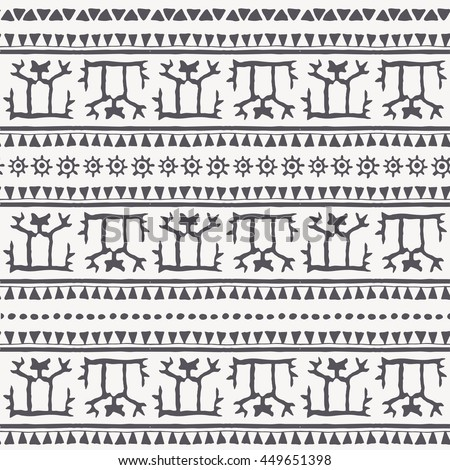 Hand drawn tribal seamless pattern with a stylized man and geometric ornament (triangles, archaic symbols of the sun). Monochrome. Every border also posible use separately as an endless border.