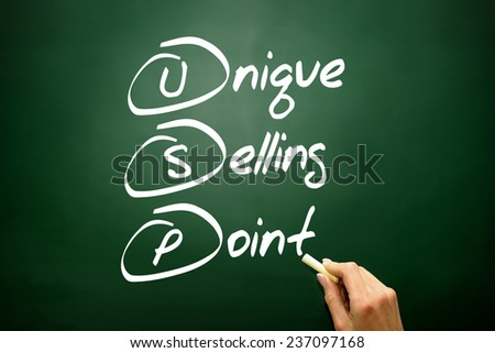 Hand drawn Unique Selling Point (USP), business concept acronym on blackboard - stock photo