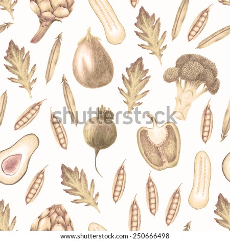 Hand drawn vegetable seamless pattern with bell pepper, snap peas, arugula, broccoli, cucumber, artichoke, beetroot and half avocado and aubergine vintage style, light sepia color on white background - stock photo
