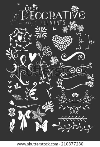 Hand Drawn Vintage Floral elements - stock photo