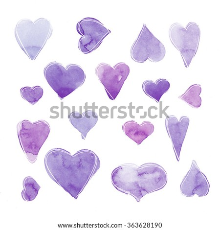 Hand drawn violet watercolor hearts on a white background. Valentine's day background - stock photo
