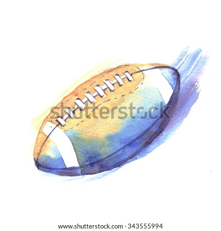 Hand-drawn watercolor American football illustration. The American football ball cup isolated on the white background - stock photo