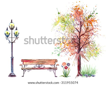 Hand drawn watercolor autumn background with park, outdoor elements: tree, bench and lantern, isolated on the white background - stock photo