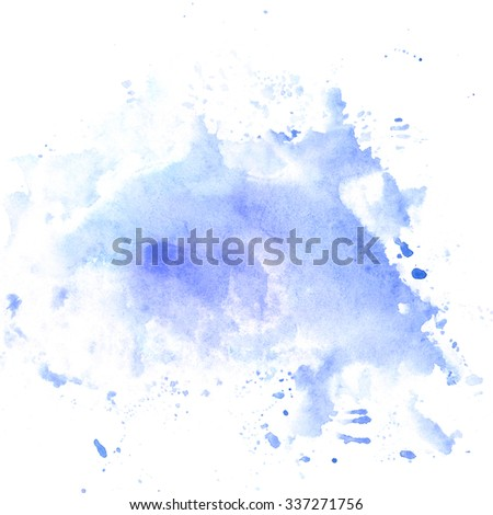 Hand drawn watercolor background in blue color. Grungy abstract stain. Design element for card or banner with text.