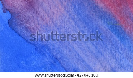 Hand drawn watercolor background, watercolors wet on wet paper. Watercolor composition for scrapbook elements - stock photo