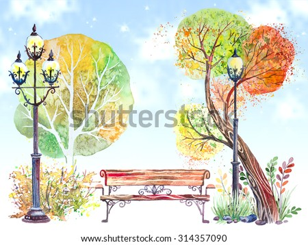 Hand drawn watercolor background with autumn park: trees, shrubs, bench and the big lantern, on the blue sky - stock photo