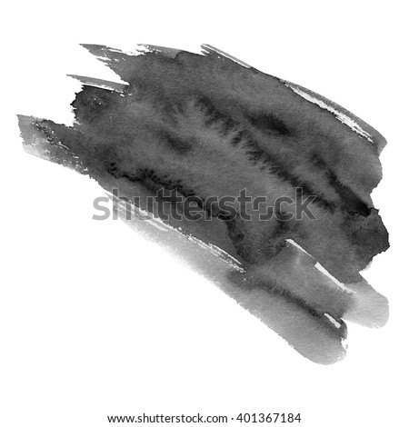 Hand drawn watercolor black stain. A watercolour spot. Inky blot. It is possible to use for wrap, wallpaper, website, decor. Isolated on white background. - stock photo