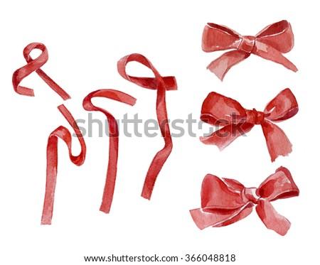 Hand drawn watercolor bows and ribbons - stock photo