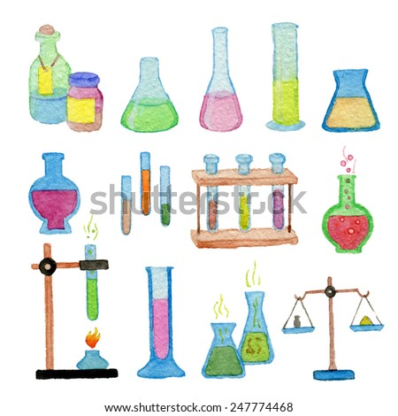 Hand drawn watercolor chemistry set - stock photo