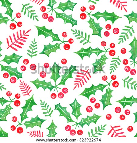 Hand drawn watercolor Christmas seamless pattern with holly berries on white background. - stock photo