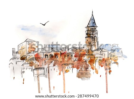 Hand drawn watercolor cityscape of Istanbul, Turkey. Freehand picture of a famous turkish landmark The Galata Tower in bright brown and orange colors.  - stock photo