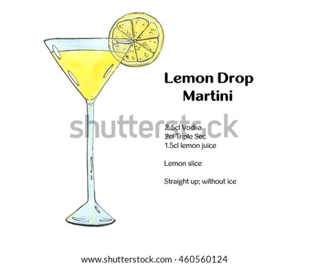 hand drawn watercolor cocktail Lemon Drop Martini on white background