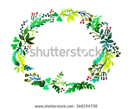 Hand drawn watercolor colorful circular floral wreaths with central white copy space for your text. - stock photo