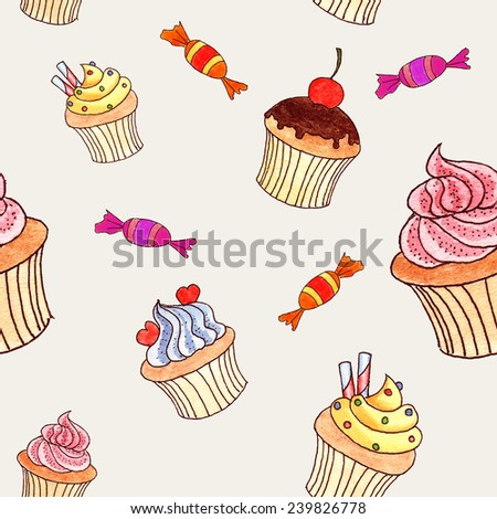 Hand drawn watercolor cupcakes background