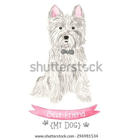 Hand Drawn  Watercolor Dog Illustration.  - stock photo