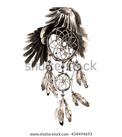 Eagle Feather Dream Catcher Hand Drawn Watercolor Dream Catcher Eagle Stock Illustration 32