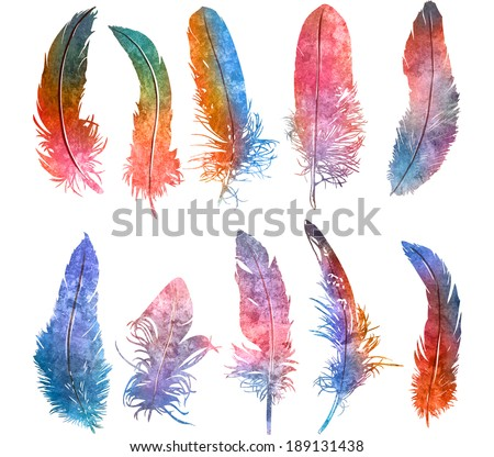 hand drawn watercolor  feather light rainbow colors set, raster illustration   - stock photo