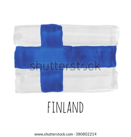 Hand drawn watercolor Finland flag with sample text, Finland state symbol, Finland raster stock image - stock photo