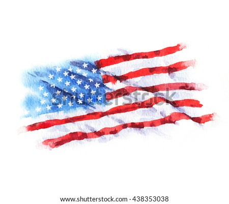 Hand-drawn watercolor flag of the USA, isolated on the white background - stock photo