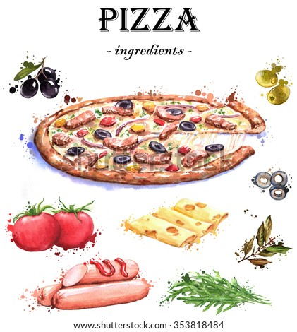 Hand-drawn watercolor food illustrations. Isolated drawings of the pizza ingredients - cheese, tomatoes, olives, spices, sausages, arugula. - stock photo