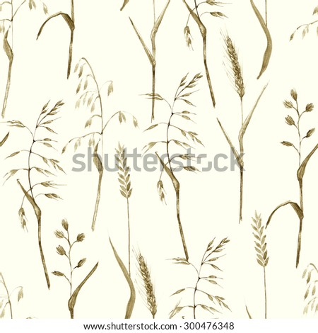 Hand drawn watercolor illustration. Meadow grass seamless pattern. Monochrome color design. Rustic vintage background. - stock photo