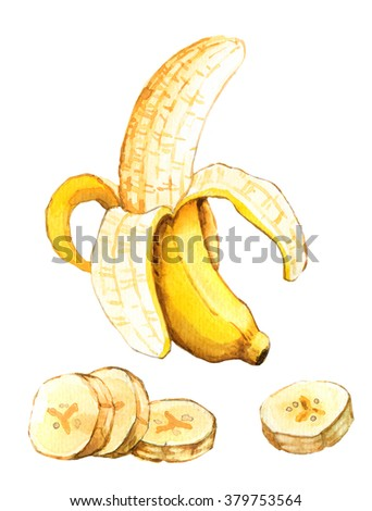 Hand drawn watercolor illustration of banana isolated on white background