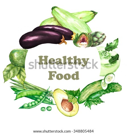 Hand-drawn watercolor illustration of different green fresh vegetables: avocado, kohlrabi, cucumber, beans, peas, artichoke and other.  - stock photo