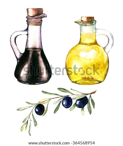 Hand-drawn watercolor illustration of olive oil and the balsamic vinegar. Drawing of the two bottles isolated on the white background with olive branch