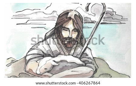 Hand drawn watercolor illustration or drawing of Jesus Christ Good Shepherd hugging a sheep - stock photo