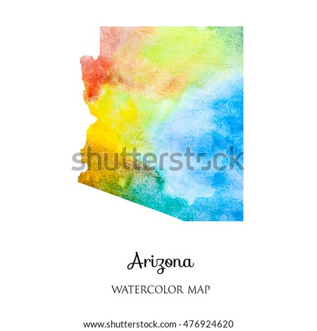 hand drawn watercolor map of Arkansas  isolated on white.