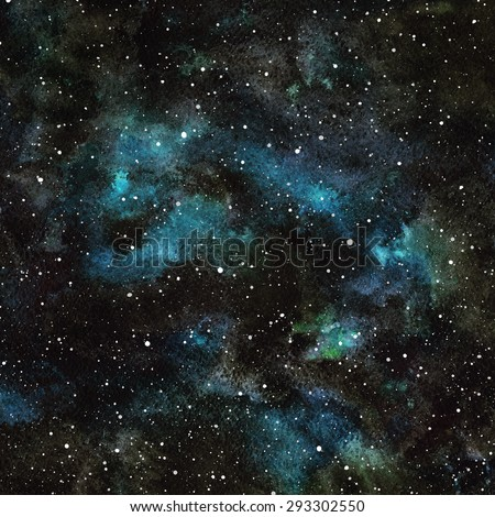Hand drawn watercolor night sky with stars. Cosmic background. Splash texture. Black, emerald and blue stains. Raster version. - stock photo