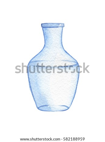 Hand Drawn Watercolor Empty Glass Vase Stock Illustration 582188959