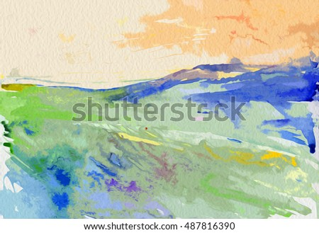 hand drawn watercolor plain landscape sky and grass field, art painting