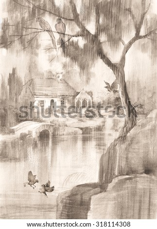 Hand drawn watercolor sketch with landscape and house. Summer landscape with a house by the river. Monochrome picture with landscape trees and birds. - stock photo