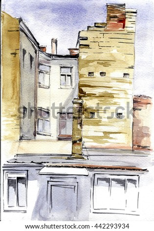 Hand drawn watercolor street view. Summer illustration.European old building.