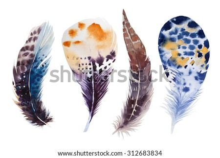 Hand drawn watercolor vibrant feather set. Boho feather style. illustration feather. isolated on white. Bird  feather boho fly design ,boho invitation, boho wedding card.Rustic feather. Bright color.  - stock photo