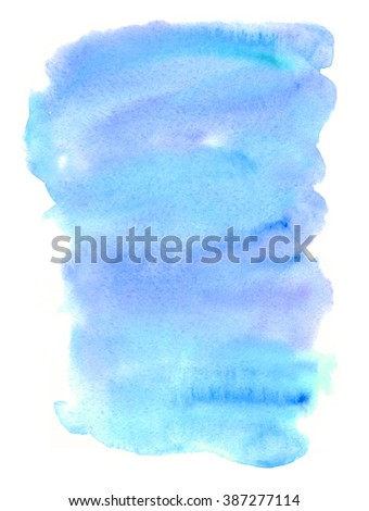 Hand drawn watercolor wash. Colorful paint stain. Vertical background in sky blue. Grunge design element in bright juicy colors.  - stock photo