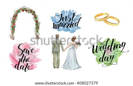 hand drawn watercolor wedding set new stock illustration 408027379