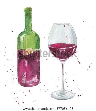 Hand drawn watercolor wine and wine glass bottle - stock photo