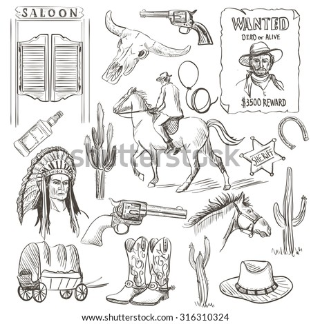 Hand drawn Wild West Collection with revolvers, skull, injun, cowboy, van, horse, cactus, hat, horseshoe, lasso, sheriff, shoes, horseman - stock photo