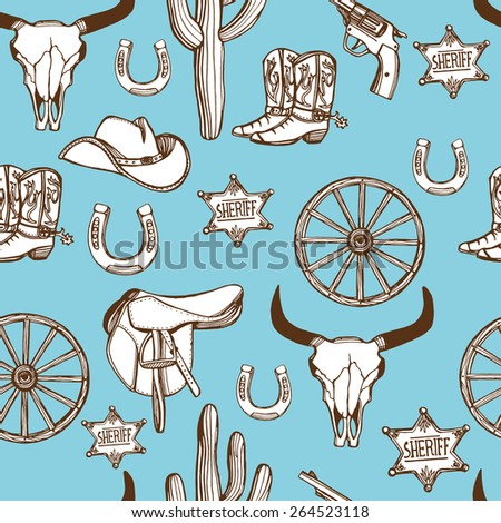 Hand drawn Wild West western seamless pattern. Cowboy hat, cowboy boots, gun, sheriff star, horseshoe, cactus, wheel, cow scull. Blue background - stock photo