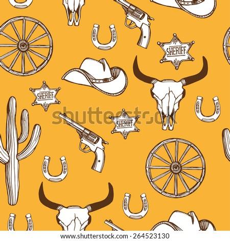 Hand drawn Wild West western seamless pattern. Cowboy hat, gun, sheriff star, horseshoe, cactus, wheel, cow scull. Orange background - stock photo