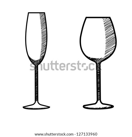 hand drawn wine glass collection - stock photo