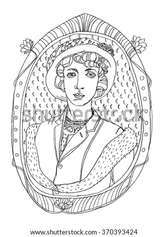 hand-drawn woman's portrait in a decorative frame